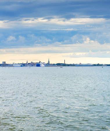 Skyline of Tallinn with seaview. Estonia