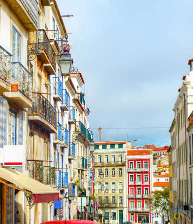 Old town cityscape, typical Portugese architecture. Lisbon, Portugal