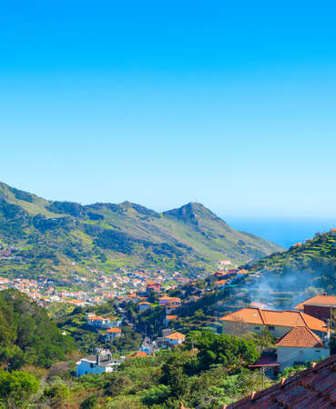 Overview of Maderia village in a bright sunny day. Madeira island, Portugal Stock Photo