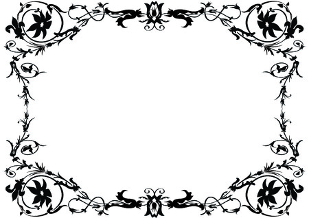 black and white ornamental frame Illustration