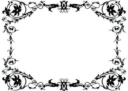 monochroom: zwart en wit sier-frame Stock Illustratie