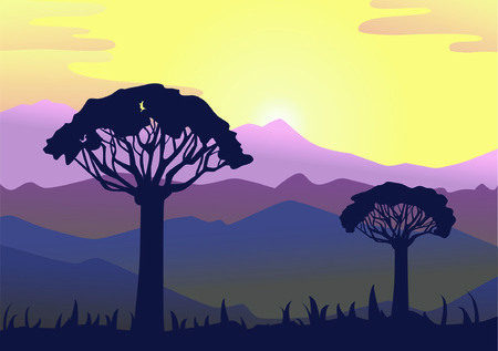horizon landscape with trees Vector