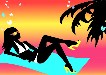 silhouette girl on the beach Vector