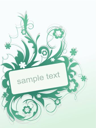minty abstract flower frame Vector