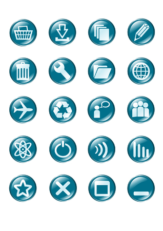 set of blue vector glass button icons part 2 Stock Vector - 1490070