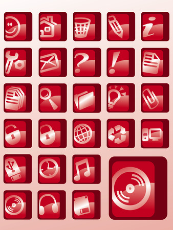 set of red vector button icons Vector
