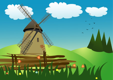 vector illustration of the mill on the meadow