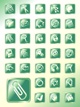 vector button: set of emerald glass vector button icons