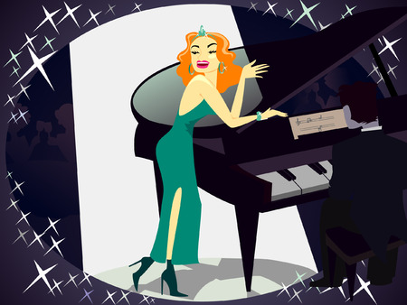 bar interior: vector illustration of beautiful singer beside piano on shiney background