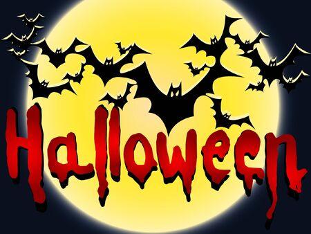drakula: vector halloween card with bat and moon