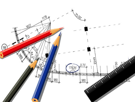 architectonic: vectorillustratie van het tekenen met kleurpotloden