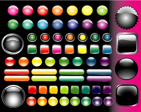 descriptive: set of vector colored glass buttons various form