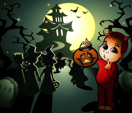 drakula: vector halloween illustration with little witches and hobgoblin
