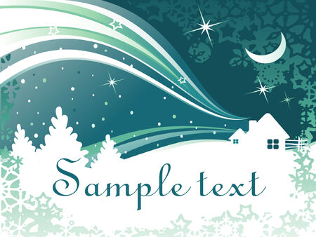 vector abstract winter background with houses and trees Vector