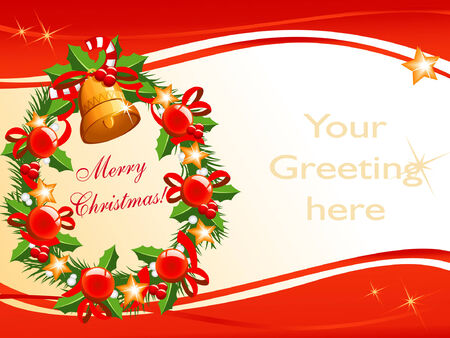 vector background for your christmas greeting with wreath Vector