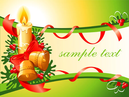 vector christmas background with candle bells and tree Vector