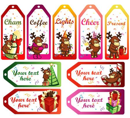bocal: etichette vettore di Natale con cervi cartoon funny
