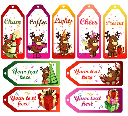 vector christmas labels with funny cartoon deers Vector