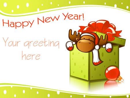 vector christmas nieuwe jaar auto's met herten Stock Illustratie
