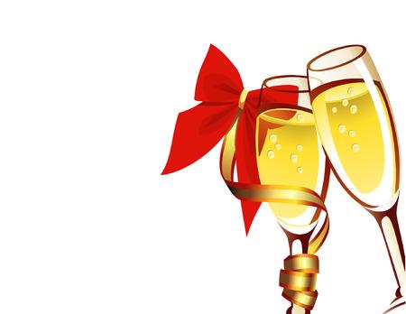 illustrazione vettoriale hampagne in due bicchieri su sfondo bianco