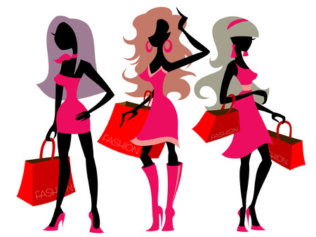 boutiques: vector illustration with silhouettes of shopping girls