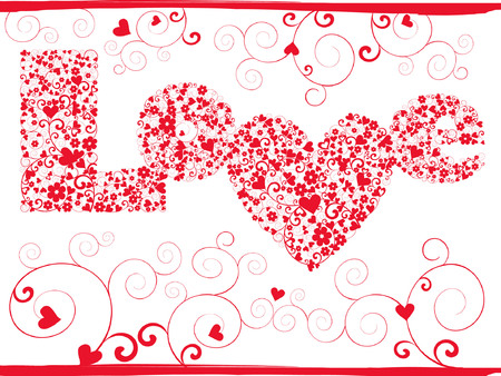 vector elegance valentine card with love pattern Vector