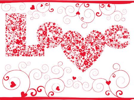 vector elegance valentine card with love pattern