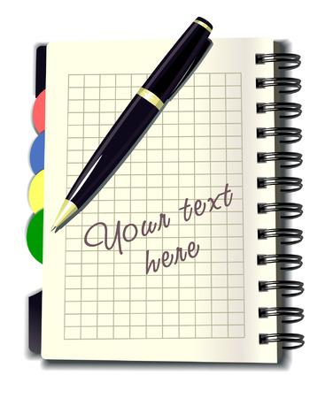 note book: vettore business nota libro con la penna
