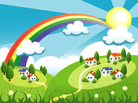 rural town: vector summer landscape with cute little houses and rainbow