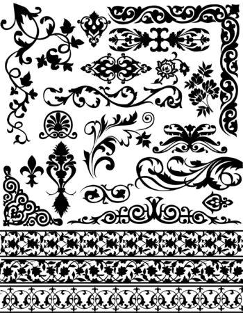 set of vector floral design elements