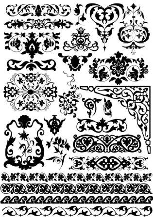 veters: set vector floral design elementen