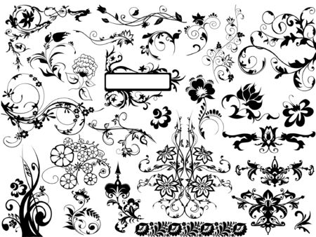 set of vector floral design elements Stock Vector - 2669245