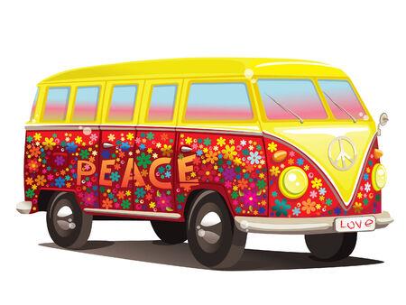 figli dei fiori: divertimento autobus  Vettoriali