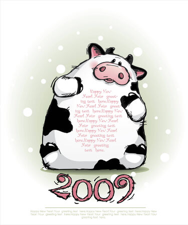 vector new year card with cow Vector