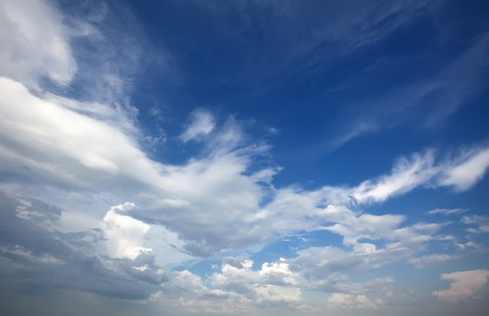 cloudiness: Cloudy blue sky. Beauty blue heaven background Stock Photo