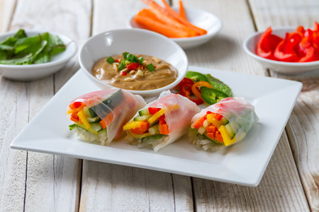 spring rolls with vegetables on a plate