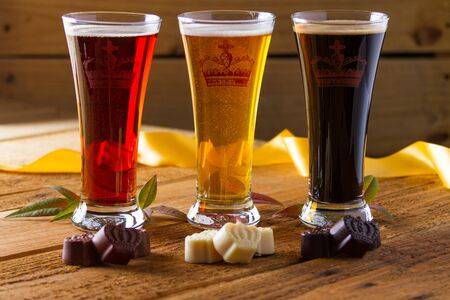 various beer assortment with chocolate