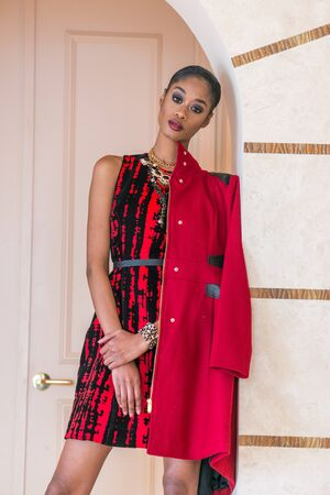 fashion: Portrait of a beautiful young black woman in red dress fashion outfit Stock Photo