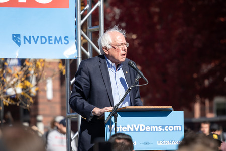 RENO, NV - October 25, 2018 - Bernie Sanders squinting during a speech at a political rally on the UNR campus. 스톡 콘텐츠 - 120230314