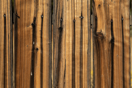 Close up weathered brown wood background surface. Wooden wall texture rustic planks with nails.