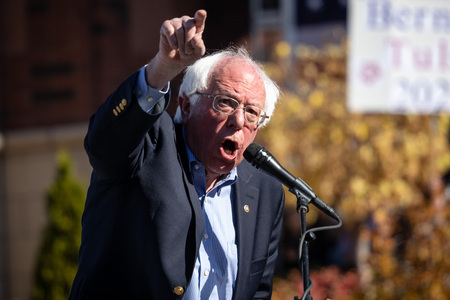 RENO, NV - October 25, 2018 - Bernie Sanders shouting during a speech at a political rally on the UNR campus.