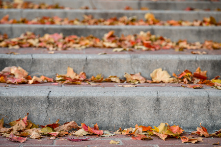 Close Up Of Brick And Concrete City Stairs Sidewalk With Autumn Leaves. Selective Focus Bokeh Background With Copy Space.