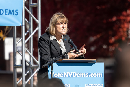 RENO, NV - October 25, 2018 - Kate Marshall counting at a political rally on the UNR campus.