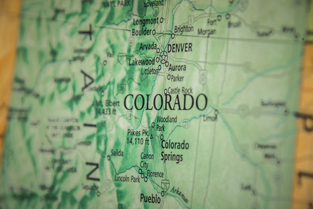 Closeup Selective Focus Of Colorado State On A Geographical And Political State Map Of The USA. Editorial