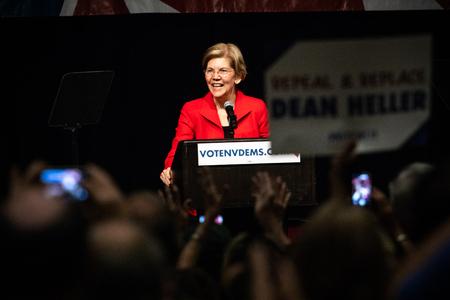 Reno, NV - June 23, 2018 - Crowd Recording Elizabeth Warren Laughing At Nevada State Democratic Convention Editorial