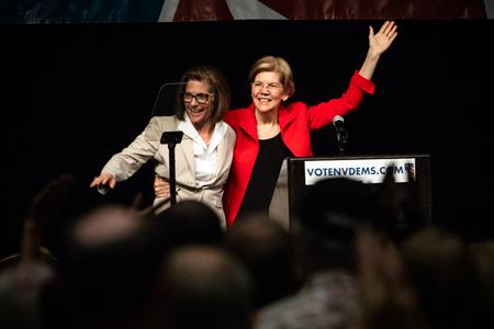 Reno, NV - June 23, 2018 - Elizabeth Warren and Catherine Cortez Masto Pointing At Crowd At Nevada State Democratic Convention Editorial