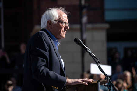 RENO, NV - October 25, 2018 - Bernie Sanders during a speech at a political rally on the UNR campus.