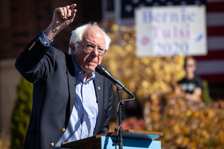 RENO, NV - October 25, 2018 - Bernie Sanders pointing during a speech at a political rally on the UNR campus.