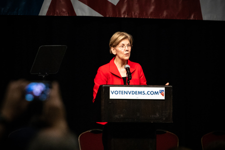 Reno, NV - June 23, 2018 - Person Recording Elizabeth Warren At Nevada State Democratic Convention