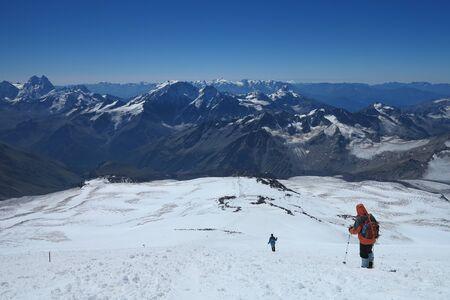 Trekking down from Mount Elbrus summit